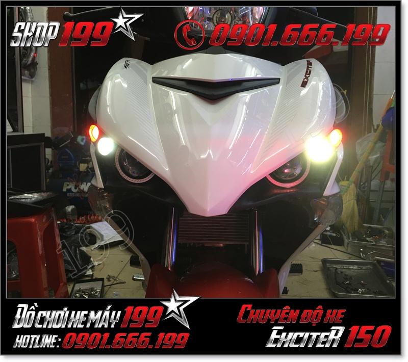 Chuyên thay thế đèn mắt cú led gương cầu U3 U5 U7 cho xe yamaha exciter 150cc 2015-2016 cực sáng cực ngầu giá rẻ tại TP HCM