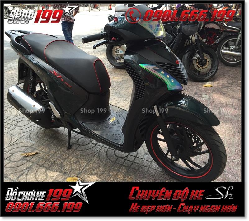Album hình xe Honda SH Việt Nam 125i 150i 2016 2017 chế lên thành SH nhập Ý 150i 2010 2011 với dàn áo SH nhập ở TP Hồ Chí Minh 7167 - SH 2016 màu xanh lục độ đẹp: 0901.666.199