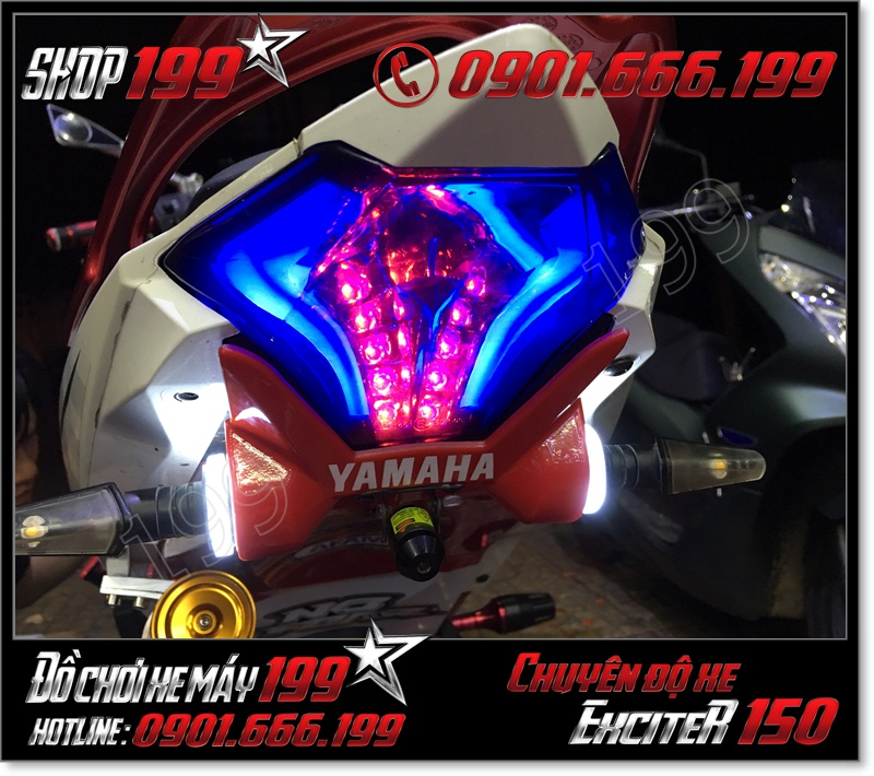 Độ đèn đuôi hậu tích hợp xinhan cho xe exciter 150cc 2016 với led audi siêu sáng đẹp mắt tại HCM