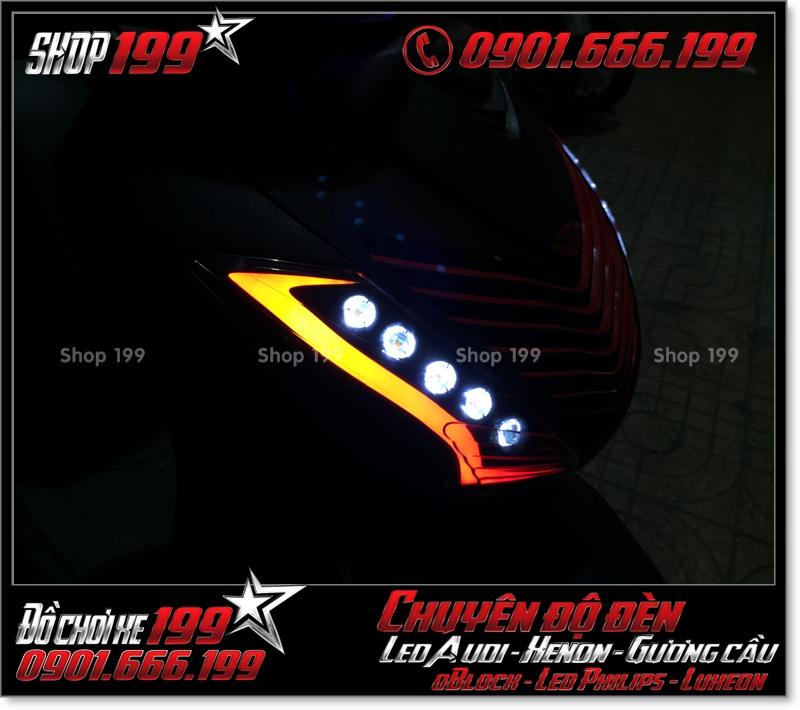 Làm đèn led audi cho xe máy honda SH Việt 2012 2013 2014 2015 2016 125i 150i đẹp cao cấp tại TPHCM Q5 2000-2016