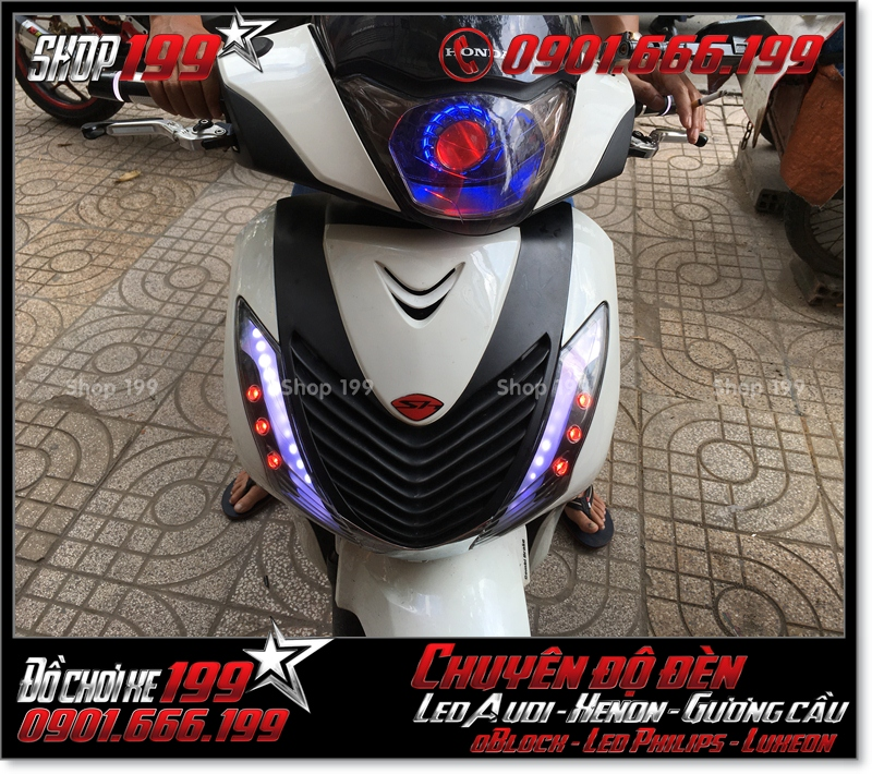 Độ đèn led audi cho xe máy honda SH Việt Nam 2012 2013 2014 2015 2016 125i 150i đẹp mắt sang trọng ở TPHCM Q3 2008-2017