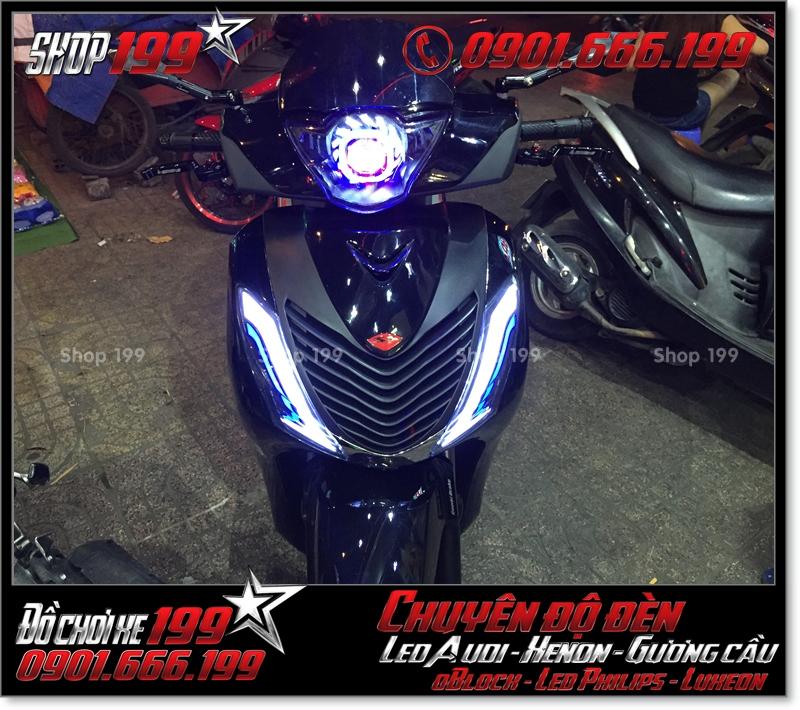 Làm đèn led audi cho xe máy SH VN 2012 2013 2014 2015 2016 125i 150i đẹp đẳng cấp ở HCM Q10 2004-2016