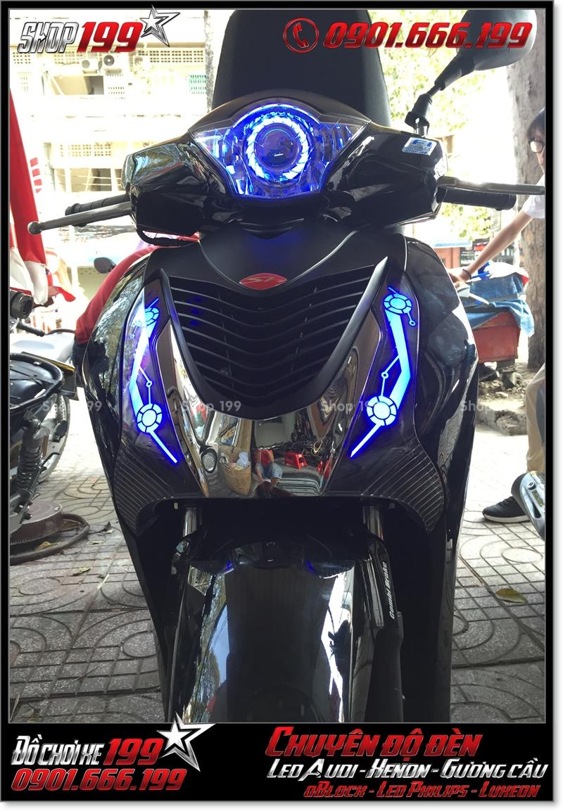 Chế đèn led audi cho xe máy SH Việt 2012 2013 2014 2015 2016 125i 150i đẹp sang trọng ở Tp HCM Quận 10 2009-2018