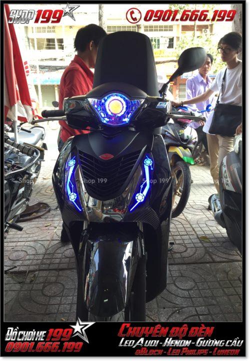 Độ đèn led audi cho xe máy honda SH VN 2012 2013 2014 2015 2016 125i 150i đẹp mắt đẳng cấp tại HCM Q4 2006-2016