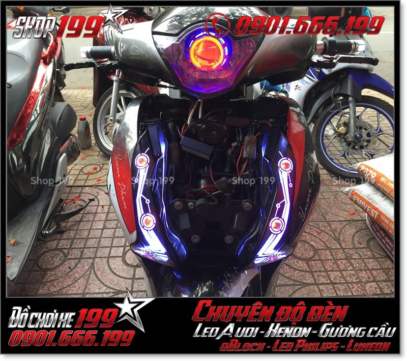 Độ đèn led audi cho xe máy SH VN 2012 2013 2014 2015 2016 125i 150i đẹp cao cấp tại Tp HCM Quận 12 2004-2016