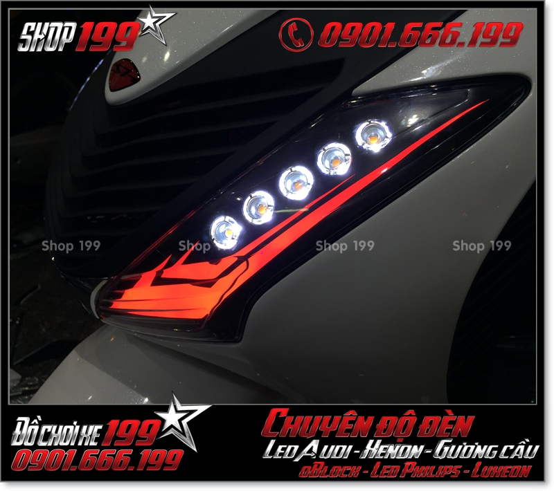 Chế đèn led audi xinhan trước cho xe SH 2009 2010 2011 chuyên nghiệp tại HCM Q4 2007-2019