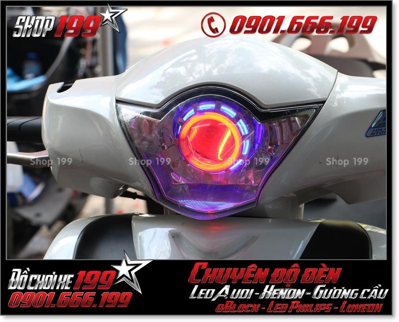 Chế đèn gương cầu cho xe máy honda SH Việt 2012 2013 2014 2015 2016 125i 150i đẹp mắt sang trọng ở TPHCM Q8 2002-2013
