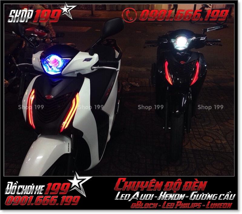 Độ đèn led audi cho xe máy SH VN 2012 2013 2014 2015 2016 125i 150i đẹp sang trọng ở HCM Q12 2001-2017