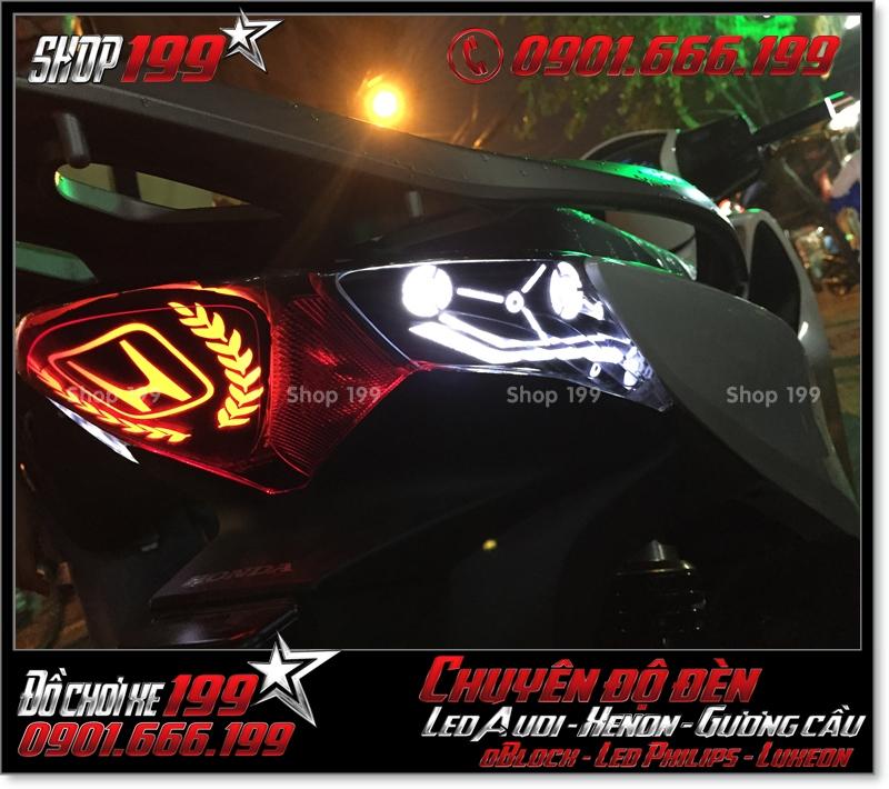 Độ đèn led audi cho xe máy honda SH VN 2012 2013 2014 2015 2016 125i 150i đẹp cao cấp ở TPHCM Quận 6 2004-2016