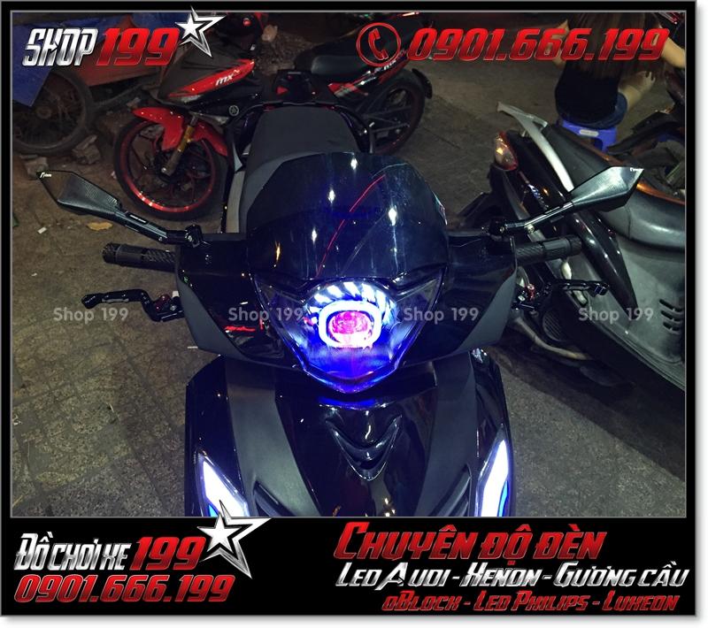 Độ đèn led audi cho xe máy SH Việt 2012 2013 2014 2015 2016 125i 150i đẹp mắt sang trọng ở TPHCM Q7 2006-2016