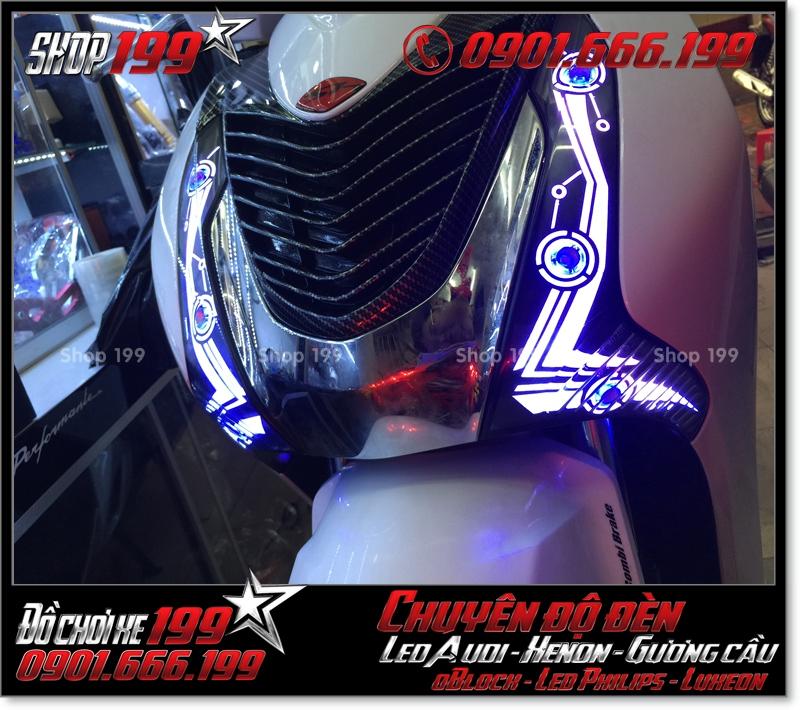 Độ đèn led audi cho xe máy SH VN 2012 2013 2014 2015 2016 125i 150i đẹp đẳng cấp tại Tp HCM Quận 1 2007-2018