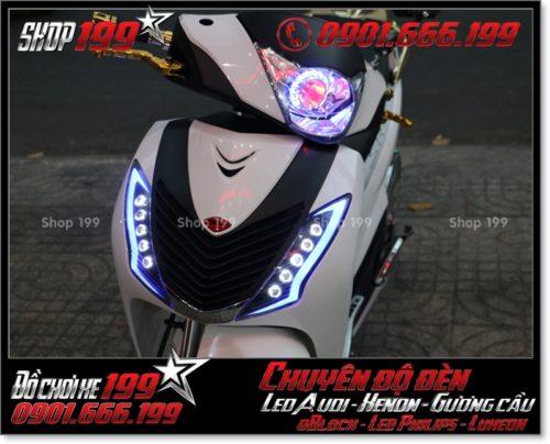 Độ đèn led audi cho xe máy honda SH Ý 2012 2013 2014 2015 2016 125i 150i đẹp mắt cao cấp tại HCM Quận 8 2007-2010