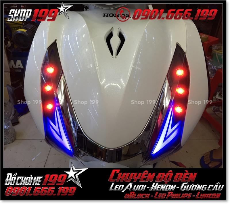 Chế đèn led audi cho xe máy honda SH Việt Nam 2012 2013 2014 2015 2016 125i 150i đẹp mắt cao cấp ở Tp HCM Q10 2004-2016