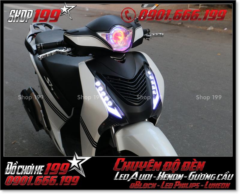 Độ đèn led audi cho xe máy honda SH VN 2012 2013 2014 2015 2016 125i 150i đẹp mắt cao cấp ở Tp HCM Q1 2008-2018