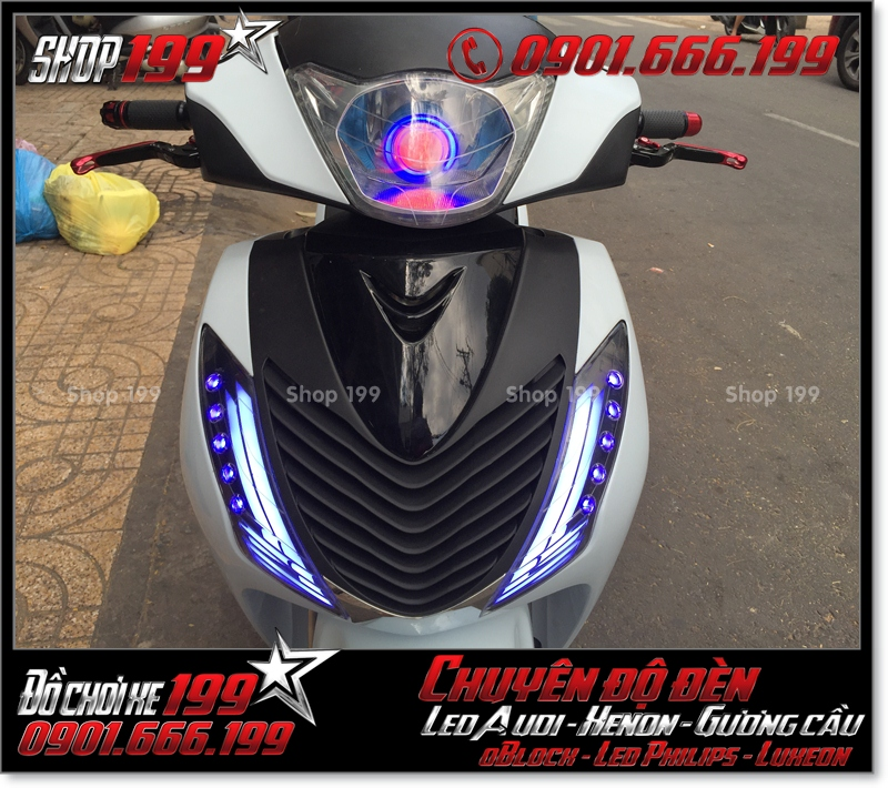 Độ đèn led audi cho xe máy honda SH VN 2012 2013 2014 2015 2016 125i 150i đẹp cao cấp tại Tp HCM Q8 2000-2016