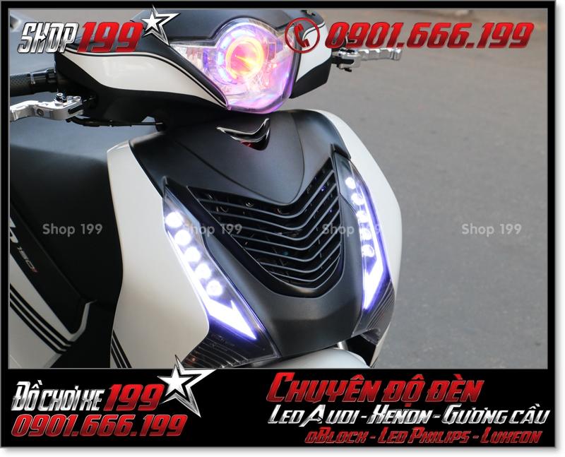 Độ đèn led audi cho xe máy honda SH VN 2012 2013 2014 2015 2016 125i 150i đẹp mắt đẳng cấp tại TPHCM Quận 6 2003-2016