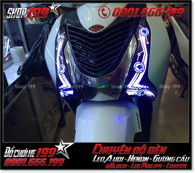 Chế đèn led audi cho xe máy honda SH VN 2012 2013 2014 2015 2016 125i 150i đẹp mắt đẳng cấp ở TPHCM Quận 3 2004-2017