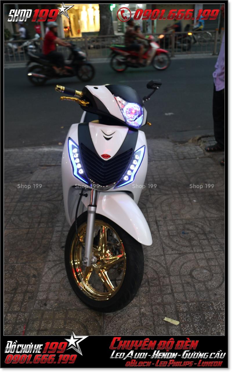 Độ đèn led audi cho xe máy SH Ý 2012 2013 2014 2015 2016 125i 150i đẹp sang trọng tại HCM Q3 2001-2015