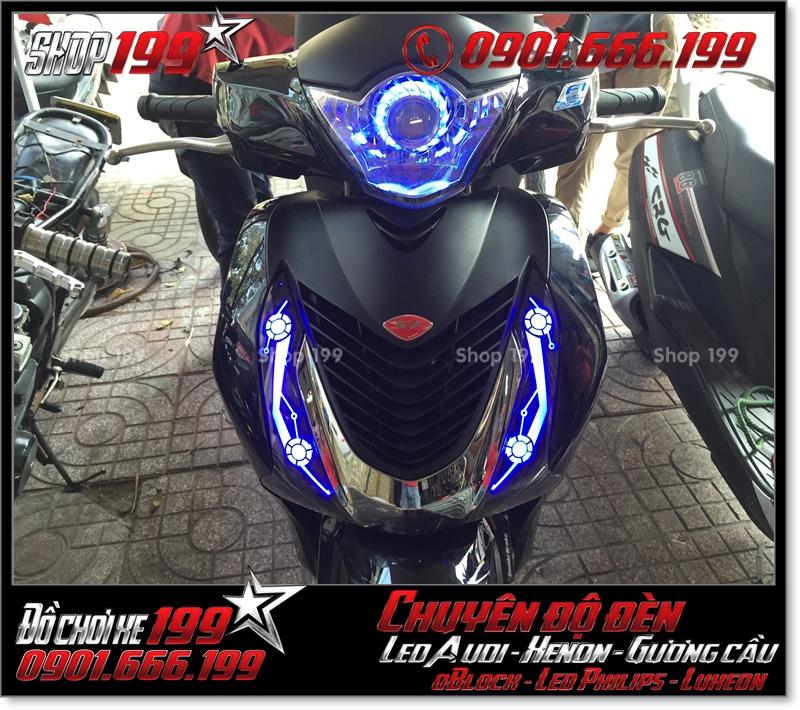 Độ đèn led audi cho xe máy honda SH Việt Nam 2012 2013 2014 2015 2016 125i 150i đẹp mắt cao cấp ở TPHCM Quận 2 2004-2016