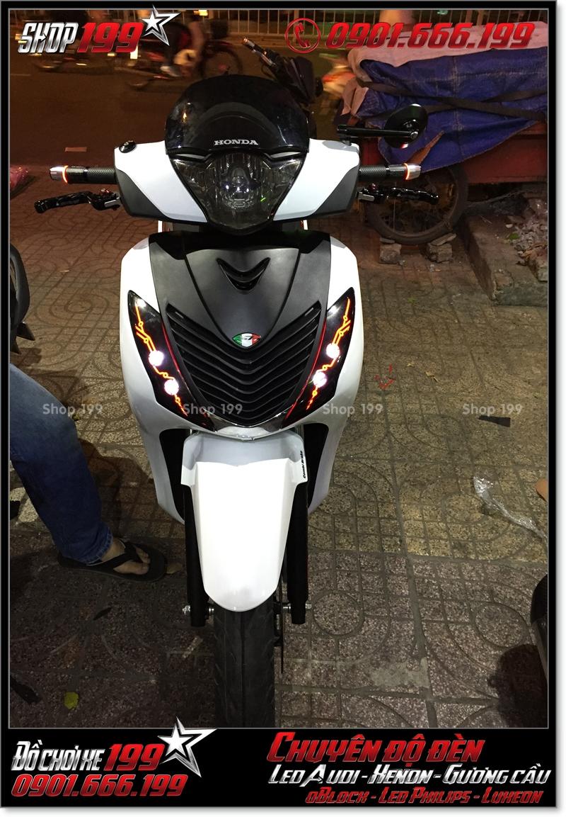 Chế đèn led audi cho xe máy honda SH VN 2012 2013 2014 2015 2016 125i 150i đẹp đẳng cấp tại Tp HCM Quận 9 2007-2017