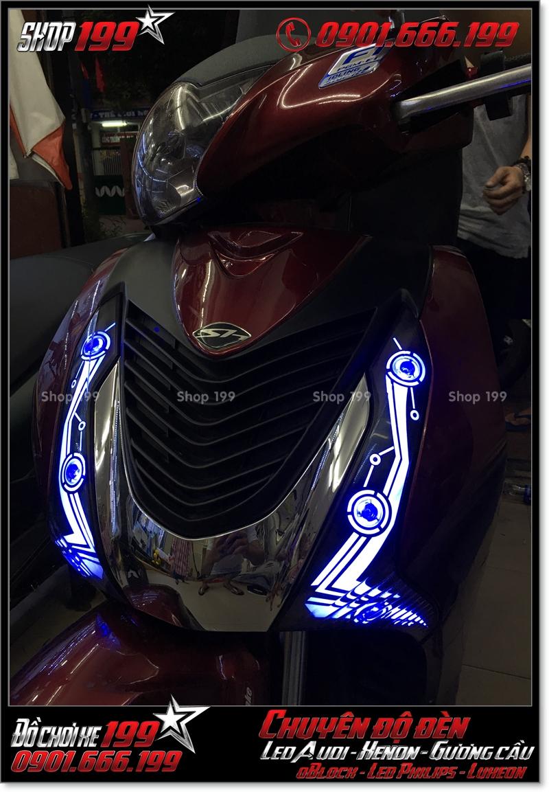 Chế đèn led audi cho xe máy SH VN 2012 2013 2014 2015 2016 125i 150i đẹp cao cấp ở Tp HCM Q4 2002-2016