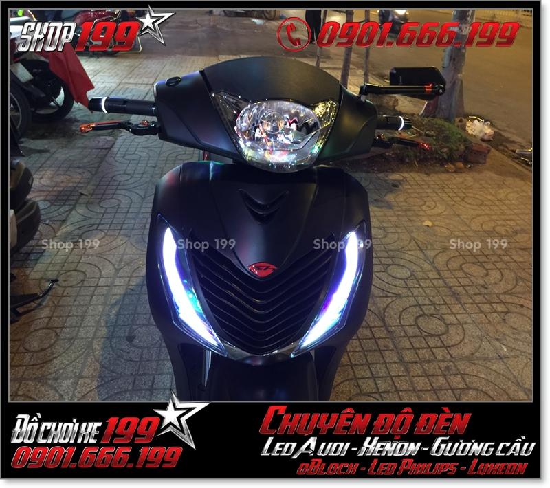 Chế đèn led audi cho xe máy honda SH VN 2012 2013 2014 2015 2016 125i 150i đẹp đẳng cấp tại HCM Quận 11 2009-2016