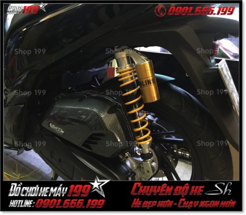 Photo Honda SH 125 150 2017 2018 2019 gắn giảm shock sau có bình dầu Ohlins original cao cấp tại SG