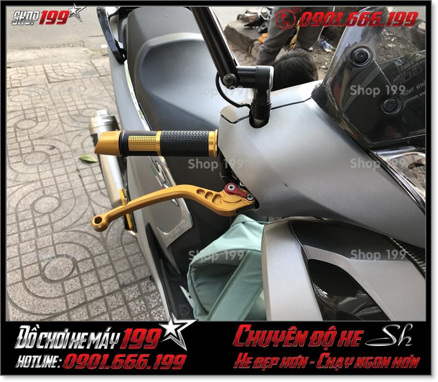 Photo gắn đồ chơi tay phanh CRG 6 số gãy nhôm nguyên khối cnc cho xe Honda SH 2017 2018 2019 125 150 giá rẻ