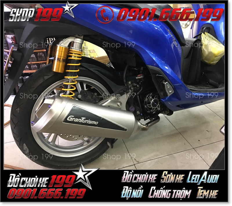 Honda SH màu xanh độ pô Granturismo và phuộc Ohlins cực đẹp và sang