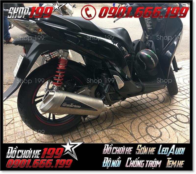 Honda SH màu đen độ pô Granturismo và phuộc  cực đẹp và đẳng cấp