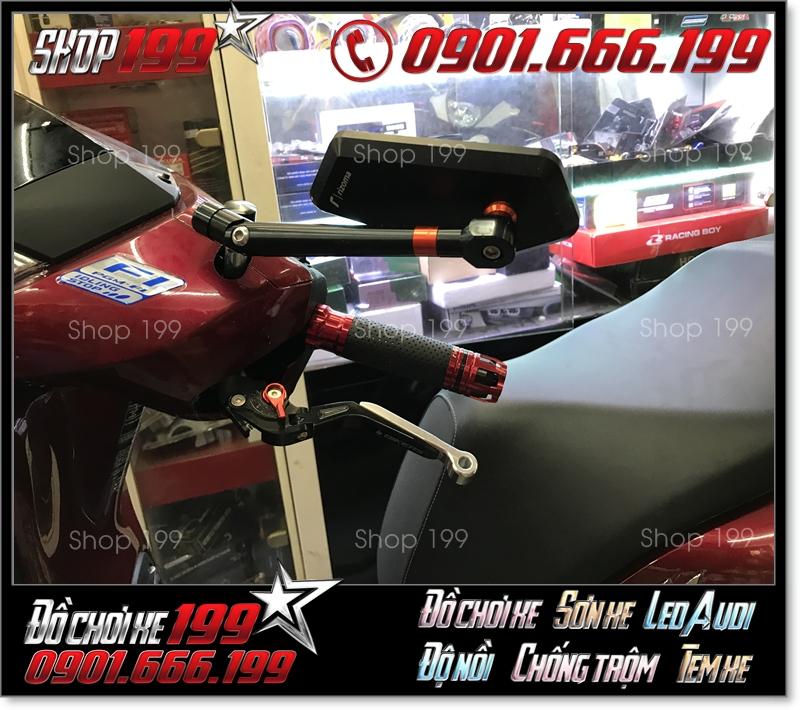 Kính Rizoma Iphone xéo cùng với  bao tay rizoma, tay thắng biker độ đẹp cho xe honda SH 150i