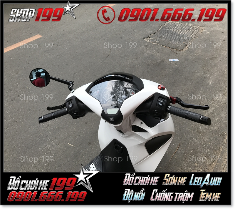 Honda SH 150i 125i màu trắng độ kính rizoma tròn đẹp và sang trọng