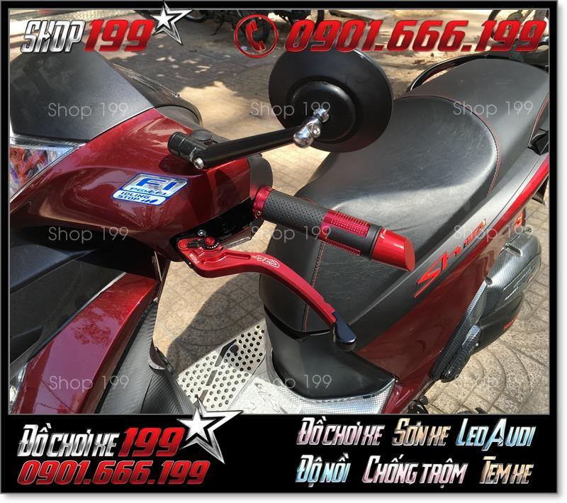 Honda SH 150i 125i màu đỏ độ kính rizoma màu đen tròn đẹp và sang trọng