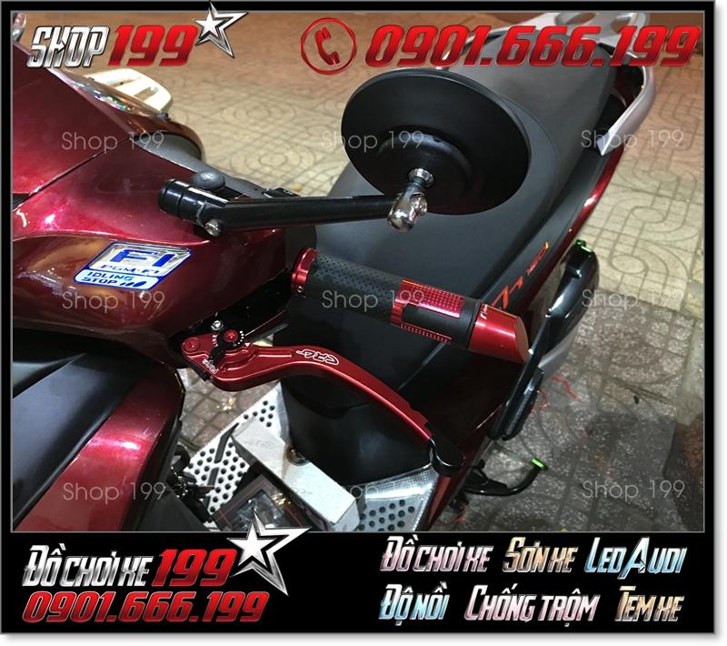 Kiếng chiếu hậu Rizoma tròn màu đen độ ngầu và đẹp cho xe Honda SH 150i 125 màu đỏ đô