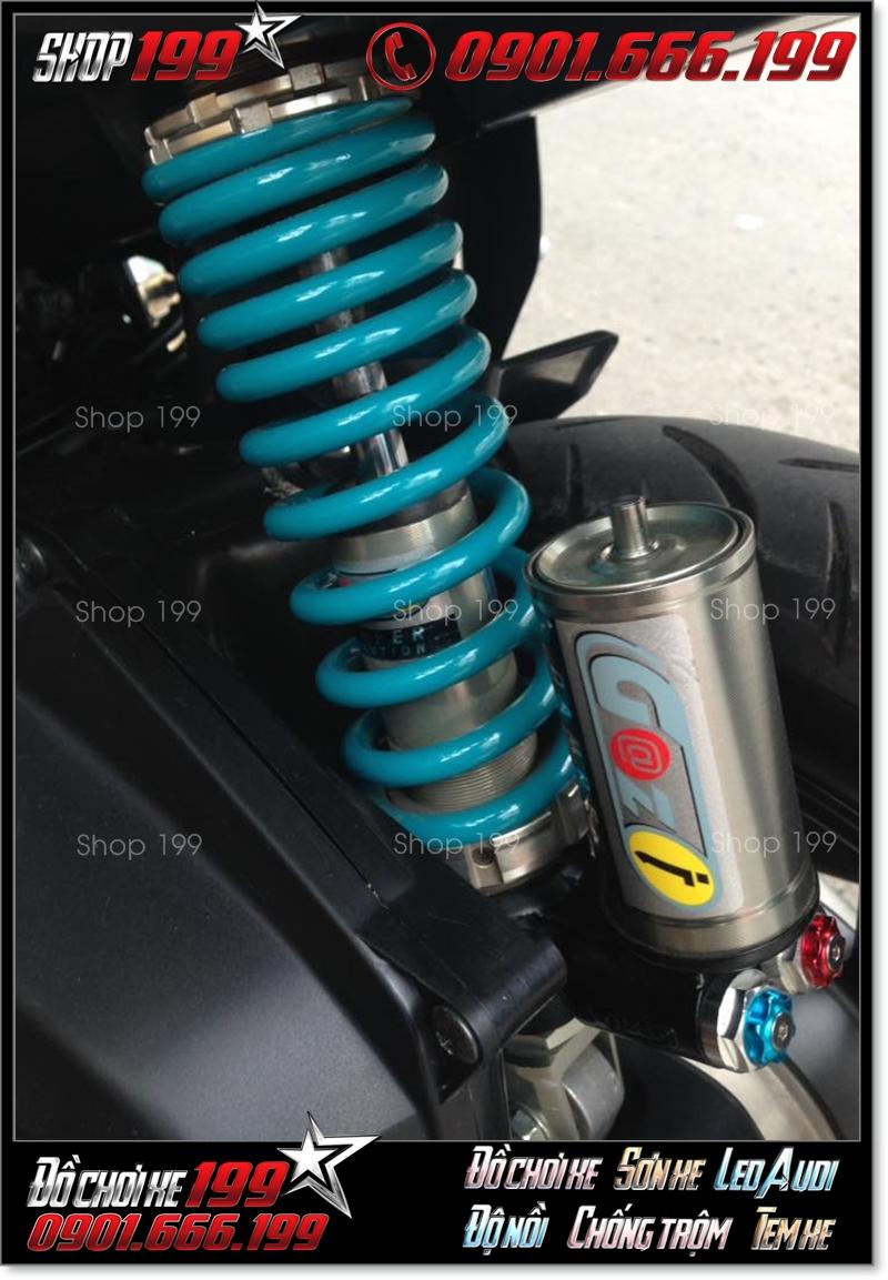 Phuộc G@zi màu xanh độ cực chất cho nhiều dòng xe máy