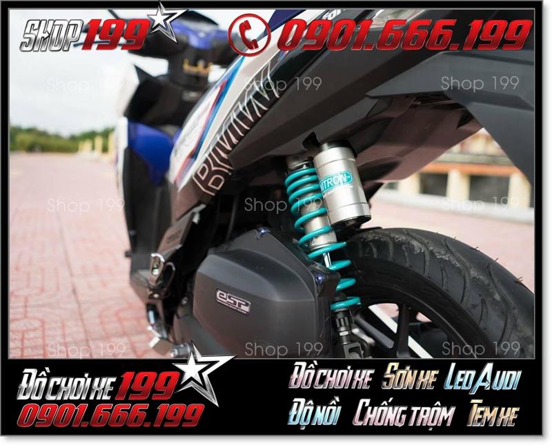 Phuộc Nitron màu xanh độ cực chất cho xe máy