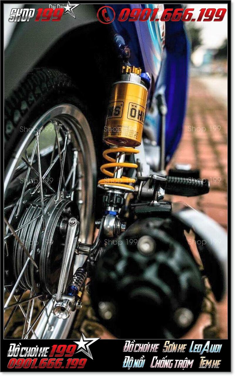 Phuộc Ohlins màu vàng nổi bật độ cho xe máy