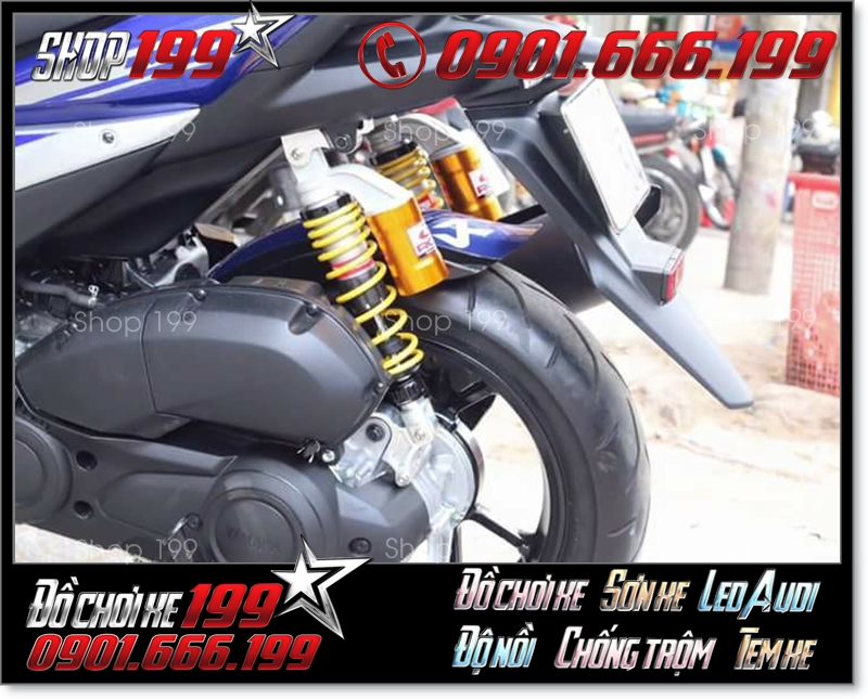Phuộc Racing Boy có bình dầu màu vàng độ đẹp cho xe Yamaha NVX màu xanh