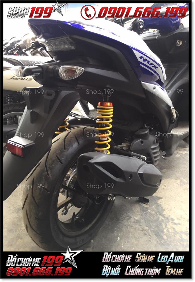 Phuộc Racing Boy không có bình dầu màu vàng độ nổi bật cho xe Yamaha NVX màu trắng xanh