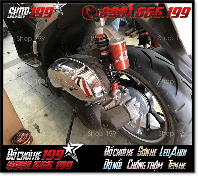Phuộc Racing Boy có bình dầu màu cam đen độ ngầu cho xe Yamaha NVX
