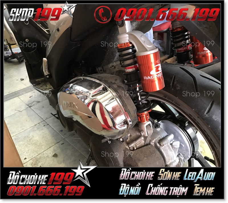 Phuộc Racing Boy có bình dầu màu cam đen độ đẹp cho xe Yamaha NVX