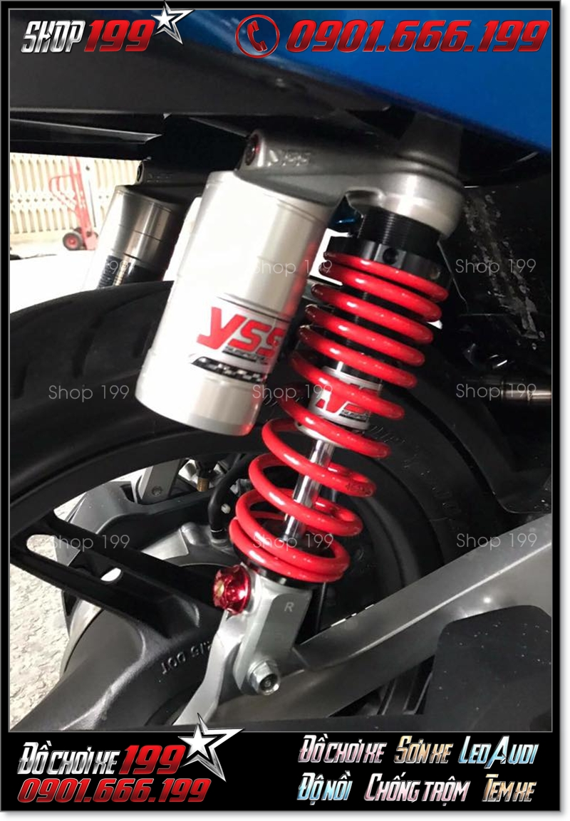 Phuộc YSS bình dầu độ màu đỏ bạc độ nổi bật cho xe máy