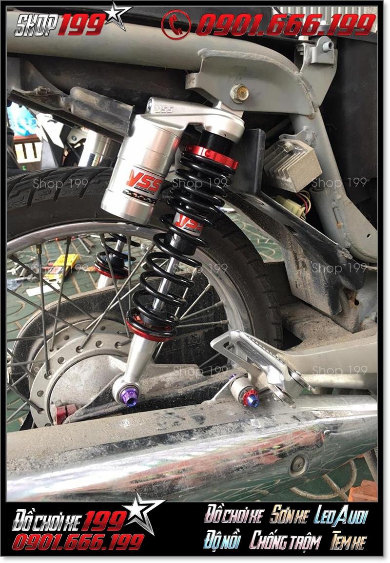 Phuộc YSS bình dầu độ màu đen bạc độ xe máy