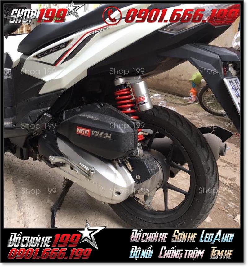 Phuộc YSS bình dầu độ màu đỏ bạc độ đẹp cho xe Honda Click Thái