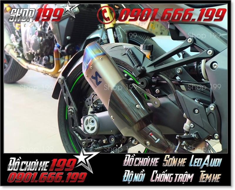 Pô Akrapovic màu Titan cực đẹp độ cho xe máy