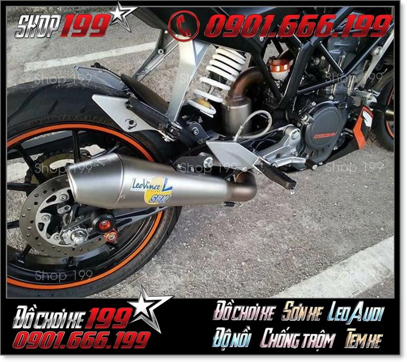 Pô Leovince SBK màu bạc độ đẹp và sang trọng cho xe máy