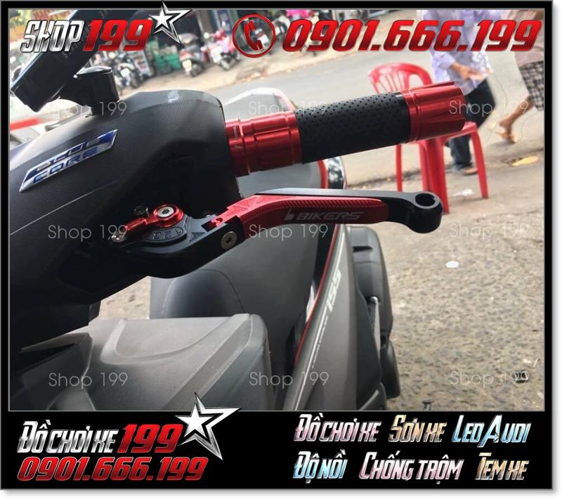 Tay thắng Biker 6 số kéo gãy đỏ đen phối hợp với bao tay rizoma màu đỏ cực phong cách
