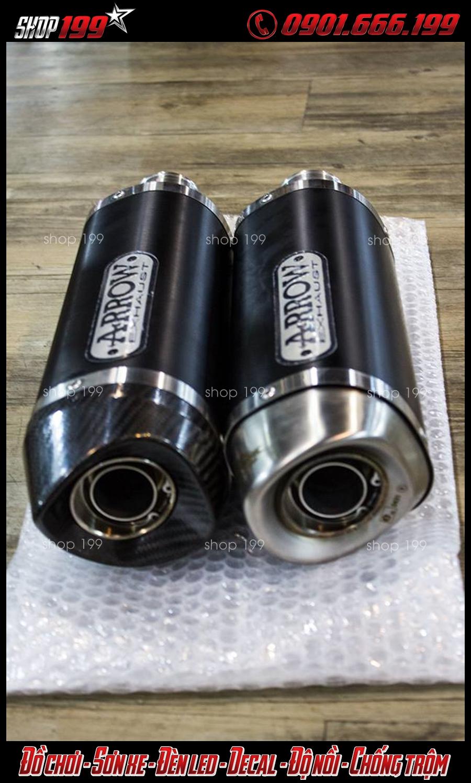 Hình ảnh 2 lon pô Arrow màu đen độ đẹp và ngầu cho xe Yamaha TFX 150i