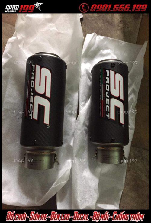 Hình ảnh 2 lon pô SC màu đen để độ cho xe Yamaha fz 150i
