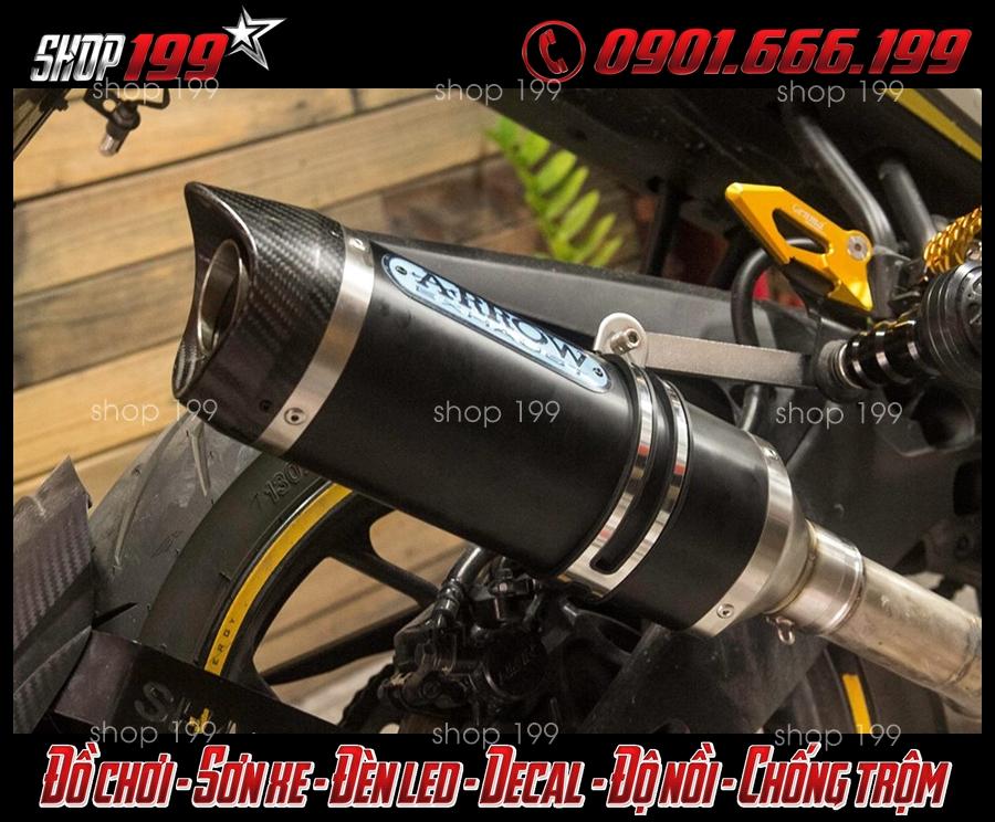 Hình ảnh Pô Arrow màu đen carbon độ ngầu và đẹp tại HCM